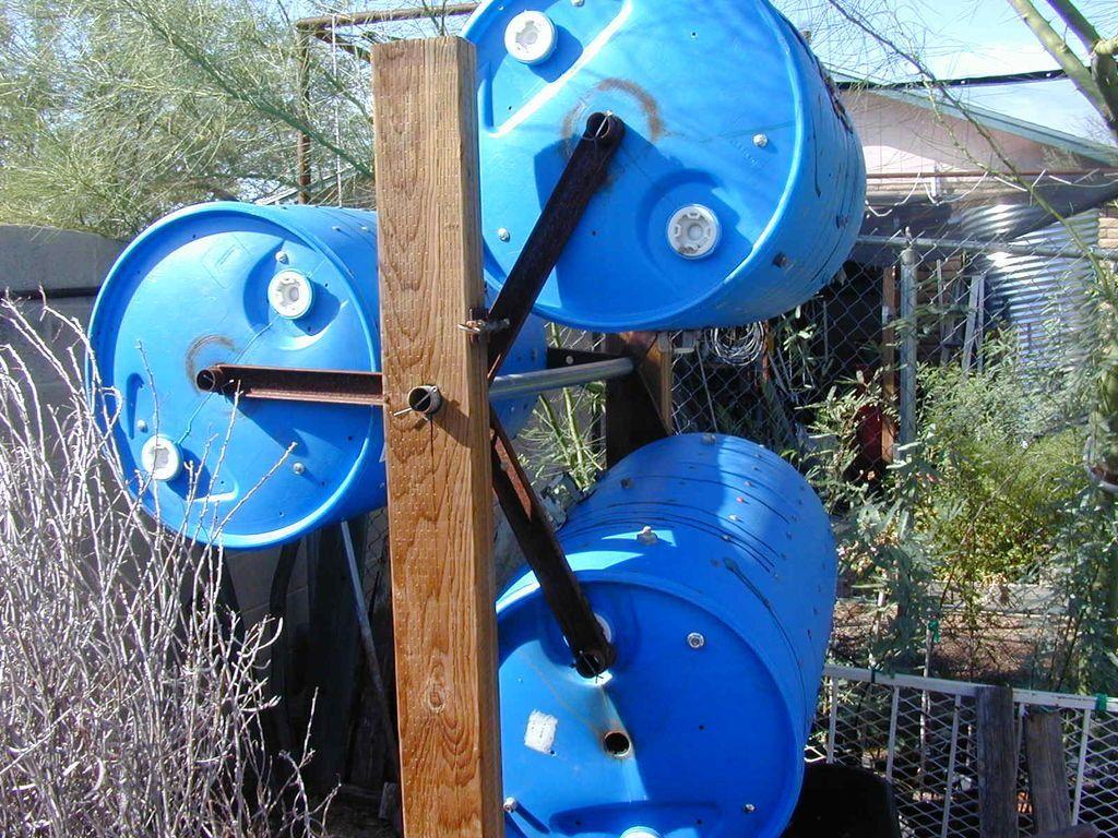 Doubledecker drum composter compostage jardinage jardins