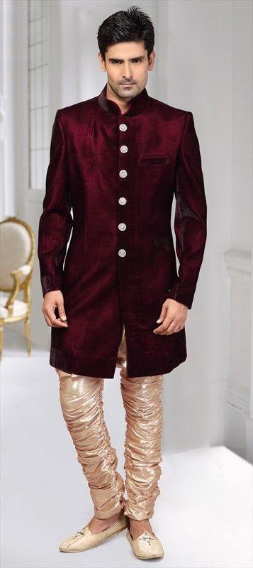 Velvet Sherwani In Red And Maroon With Thread Work Sherwani Maroon Color Desi Fashion