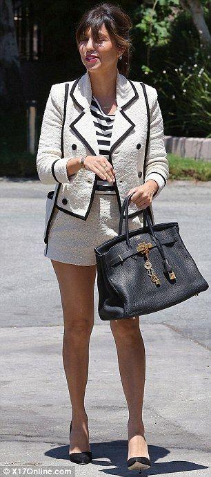 7b828245e570e5 Kourtney Kardashian wearing Hermes Birkin Bag in Black Jean-Michel Cazabat  Ella Suede D'orsay Pumps Skaist Taylor Boucle Jacket