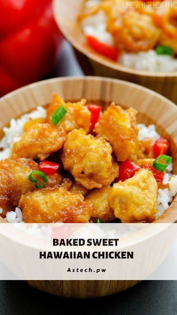 "BAKED SWEET HAWAIIAN CHICKEN #hawaiianfoodrecipes My love for this ""baked chicken"" all started with this baked sweet and sour chicken. I just about died when I made it for the first time and it was better than any takeout that I have ever had. The breading is spot on to any high end chinese restaurant in fact, I think you will agree that it is way better! #food #recipes #dinner #cake #vegetarian #healthyrecipes #easyrecipe #foodrecipes #hawaiianfoodrecipes BAKED SWEET HAWAIIAN CHICKEN #hawai #hawaiianfoodrecipes"