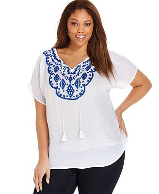 AGB Plus Size Plus Size Short-Sleeve Embroidered Peasant Top