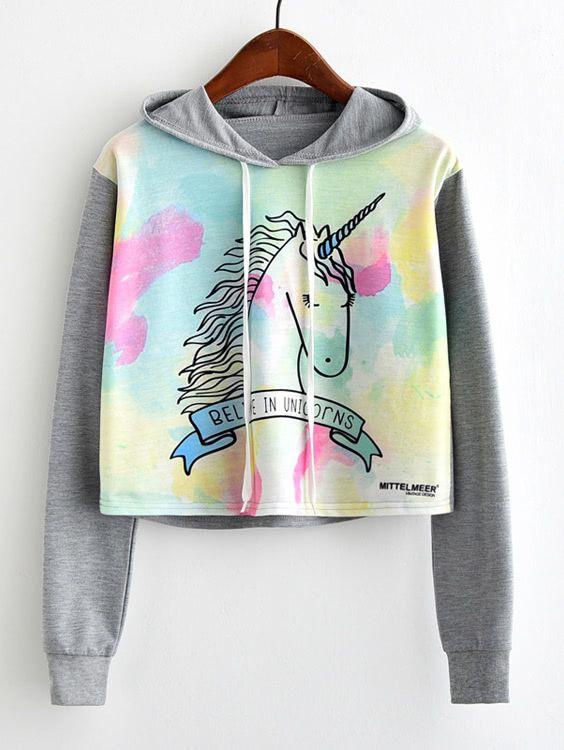 05b0bb0460 Shop Unicorn Print Contrast Sleeve Hoodie EmmaCloth-Women Fast Fashion  Online