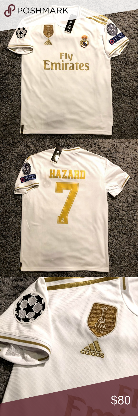 Eden Hazard Real Madrid Champions League Jersey Home Jersey For Real Madrid 2019 2020 Ucl Season This Is Adidas Shirt Tee Shirts Real Madrid Champions League