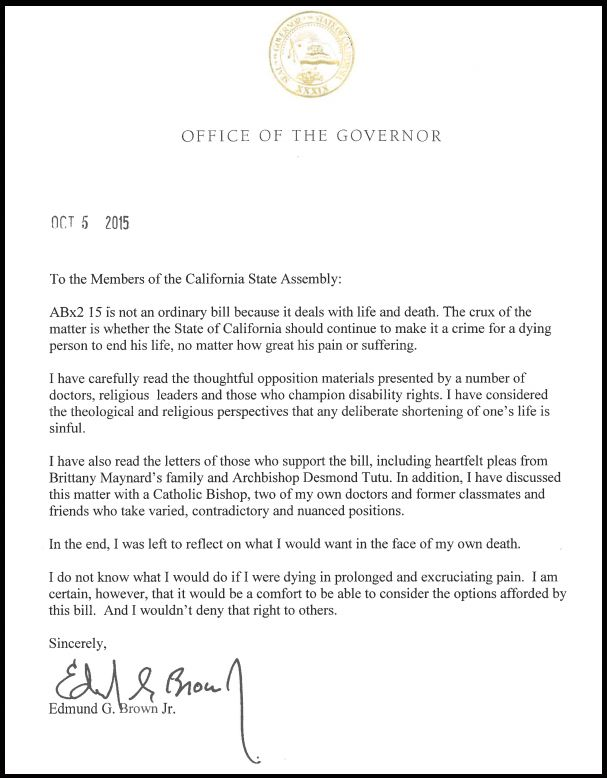 Gov Jerry Brown Issued An Unusually Personal Signing Statement With