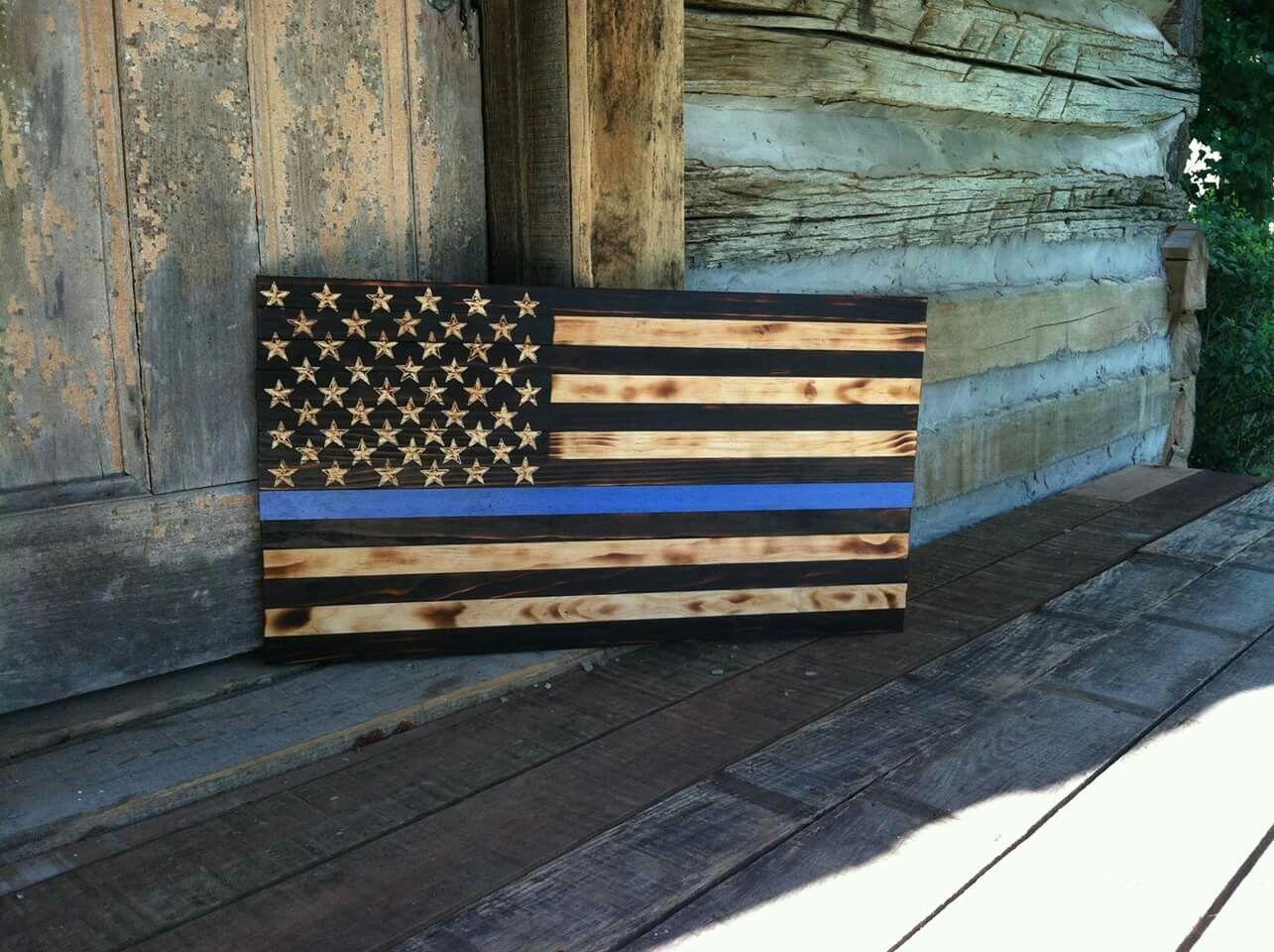 Burnt Wood American Flag Blue Line Defender Check Out Patriot Flagworks Page On Facebook