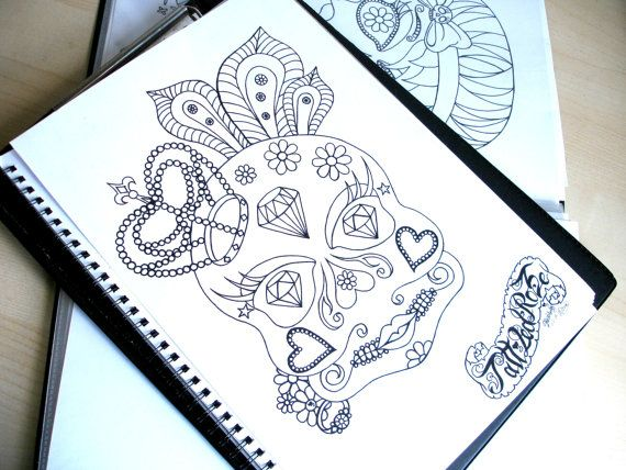 Adult Colouring Page, Tattoo Coloring Page, Crowned Sugar Skull ...