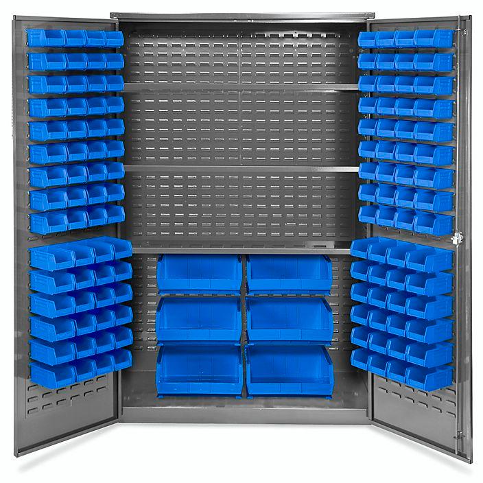 Bin Storage Cabinet 48 X 24 X 78 126 Blue Bins H 4449blu Uline Storage Bins Storage Cabinet Storage Cabinets