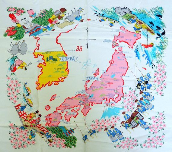 Vintage Scarf Map Japan Korea 38th Parallel Marked Colorful Large ...