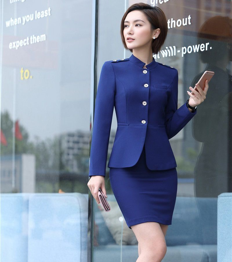 Office Uniform Designs For Women Business Suits With Skirt And Jacket Sets Ladies Blazer W Womens Suits Business Blazer Outfits For Women Business Women Blazer