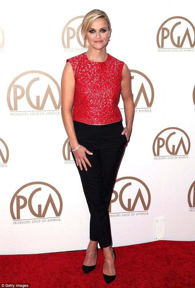 Looking good: Reese Witherspoon looked elegant in red and black as she walked the red carpet at the annual Producers Guild Awards on Saturday