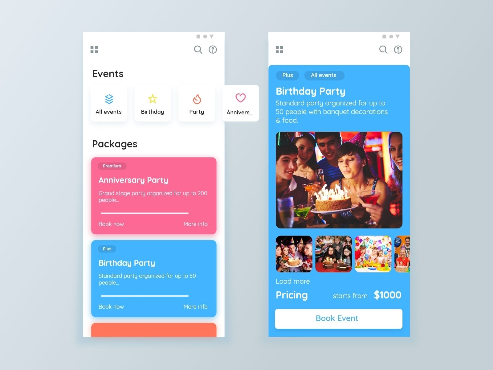 Events App (With images) Event app, App user interface