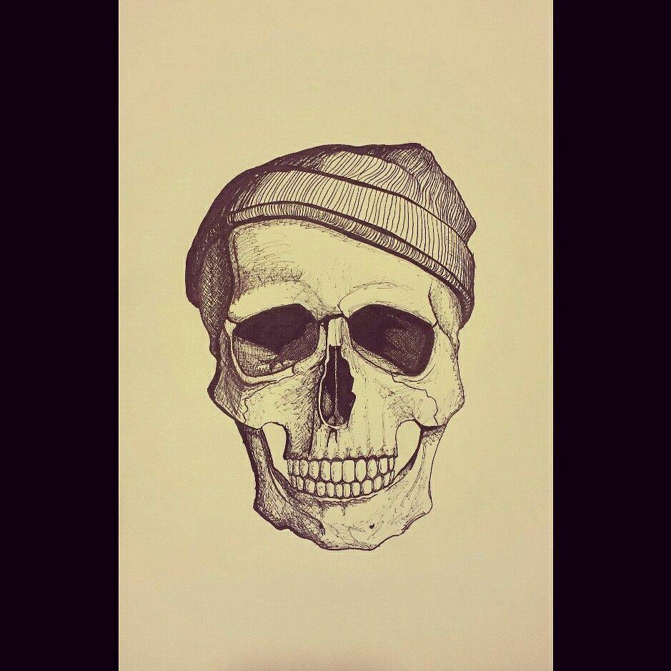 Skull wearing a beanie. #Skull #Beanie #Drawing #Sharpie #Art ...