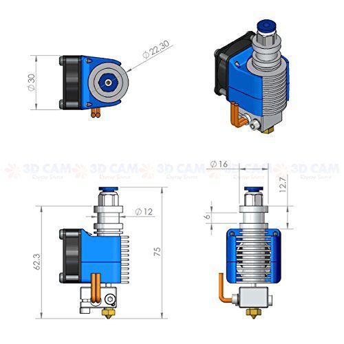 3D CAM] All Metal Hot End V6 for RepRap 3D Printer Bowden