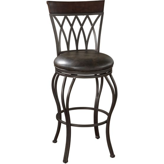 Exceptional AHB 34 In. Palermo Swivel Bar Stool   Pepper With Tobacco Leather