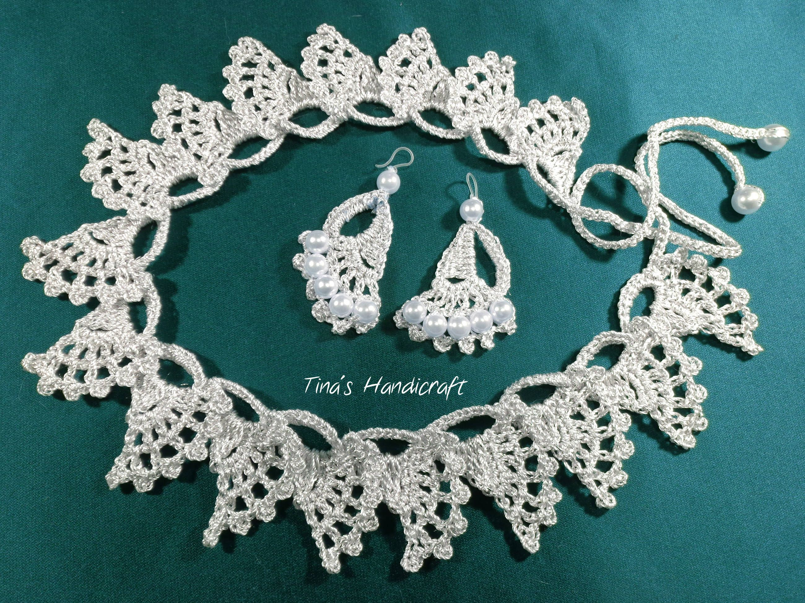 wedding crochet necklace & earrings with beads, gift ideas, wedding accessory, bridal gadget,crochet clothing trimmings,metal thread by TinasHandicraftGr on Etsy