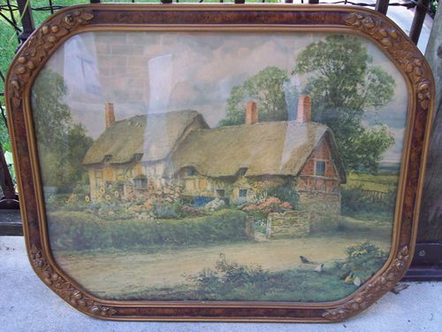 Old English Country Cottage Thatched Roof Print Or Painting Vintage
