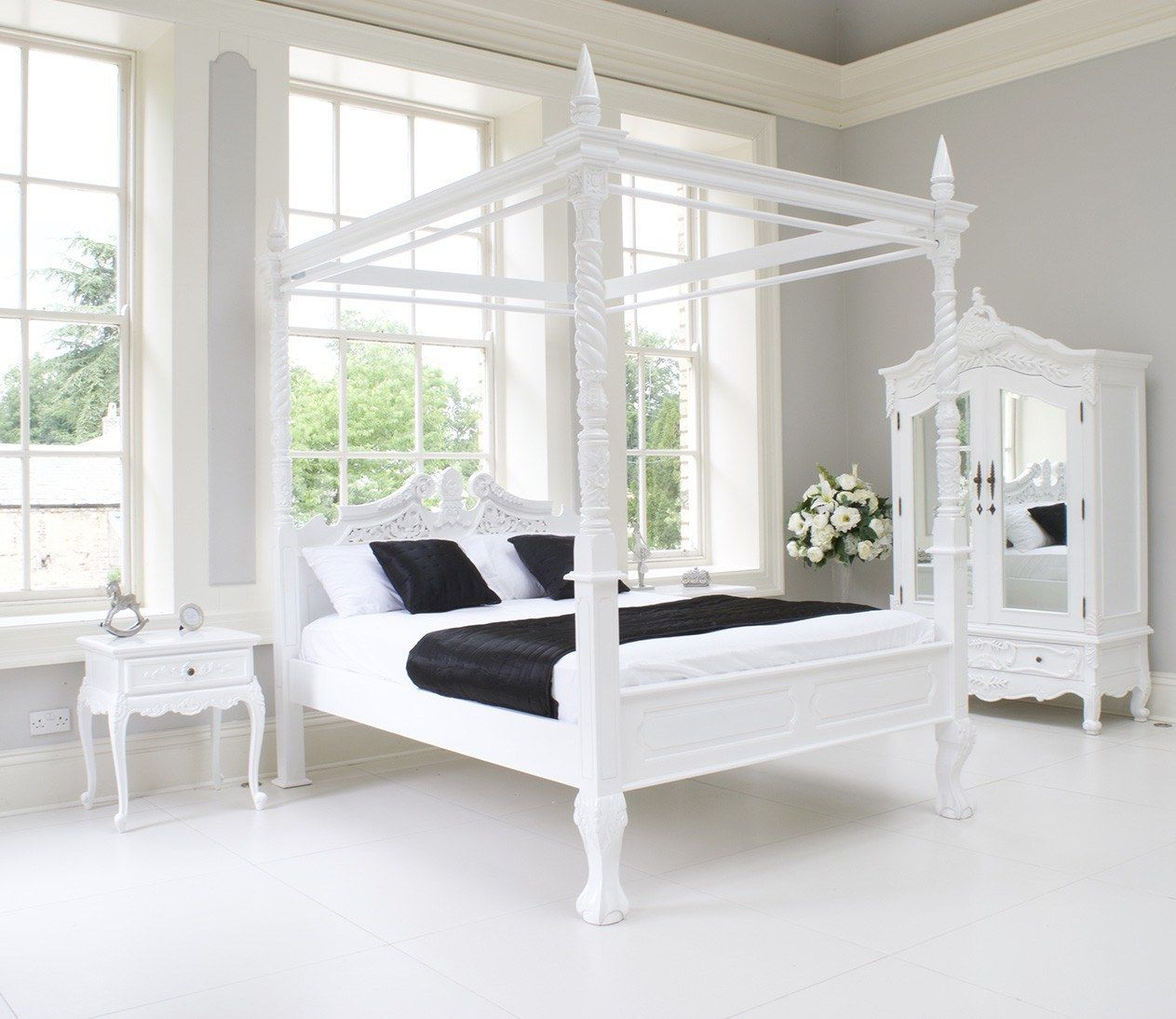 French Beds Four Poster Cau Bed In White