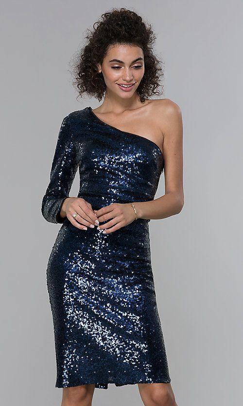 Navy Blue Sequin One-Shoulder Short Cocktail Dress #navyblueshortdress