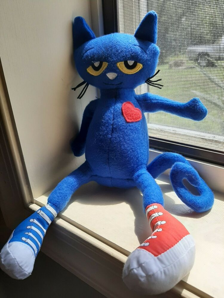Details about pete the cat blue kitten plush toy stuffed