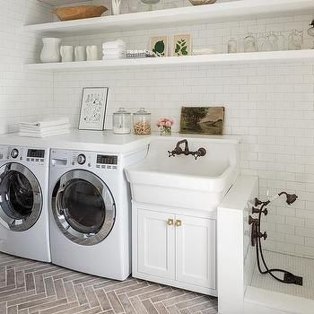 Laundry Room with Black and White Dog Shower - Cottage - Laundry Room