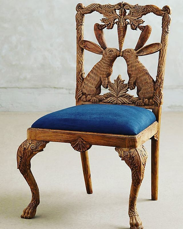 Happy Easter Anthropologie Hand Carved Rabbit Menagerie Dining Chair