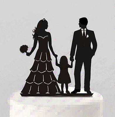 wedding cake topper couple with child family groom child silhouette wedding 26310