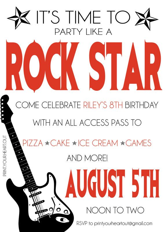Printable Rock Star Guitar Birthday Party by PrintYourHeartOut - fresh invitation for birthday party by email