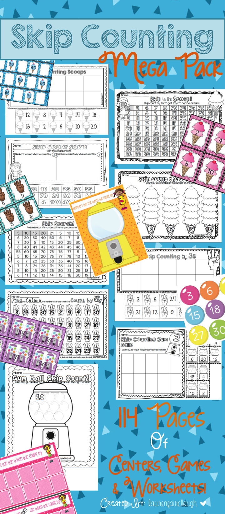 Skip Counting Mega Pack! 114 Pages of Numeracy Games, Centers and ...