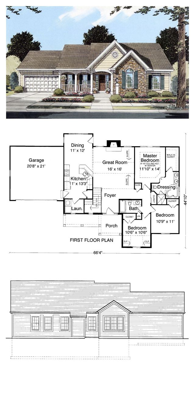 Ranch Style COOL House Plan ID: chp-27601 | Total Living Area: 1498 sq. ft., 3 bedrooms & 2 bathrooms. The Great Room with a gas fireplace and sloped ceiling is visible from the Foyer, Breakfast Room and Kitchen creating a large, open gathering area.  #houseplan #ranchstyle