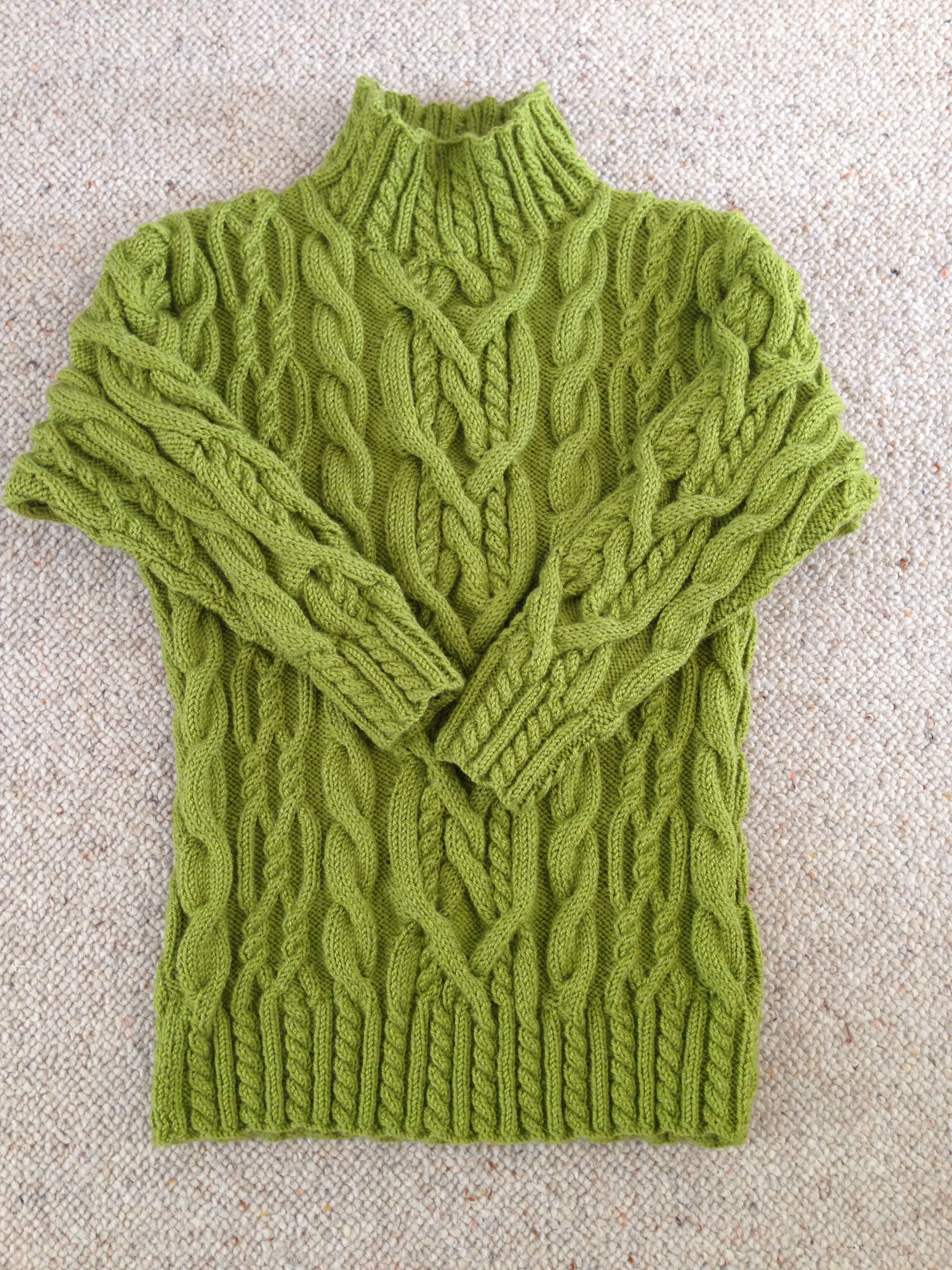 Aran sweater ready for next winter, will use spare yarn on another project