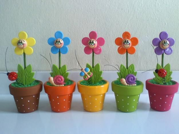 Polymer clay happy flowers - FImo DIY, polymer clay tutorials