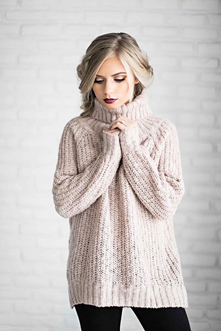 shop jessakae, sweaters, turtleneck, blush sweater, blush, mauve ...