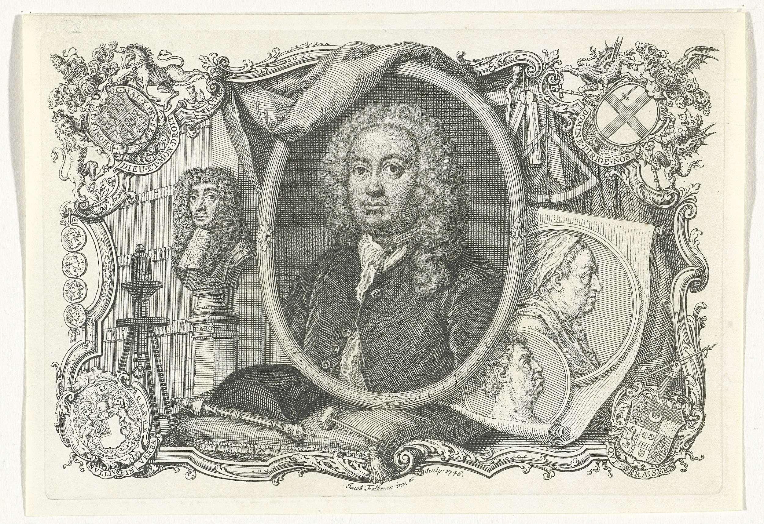 Jacob Folkema | Portret van Martin Folkes, Jacob Folkema, 1746 | Portretbuste in ovaal naar links van de Engelse oudheidkundige en antiquair Martin Folkes, blootshoofds. De ovale omlijsting staat op een kussen waarop een hoed, hamer en een staf liggen. Rechts van het portret zijn twee medaillons op papier weergegeven met de beeltenis van een man en vrouw, hierboven zijn diverse meetinstrumenten afgebeeld. Links van het portret staat een portretbuste op een pilaar. De voorstelling wordt…