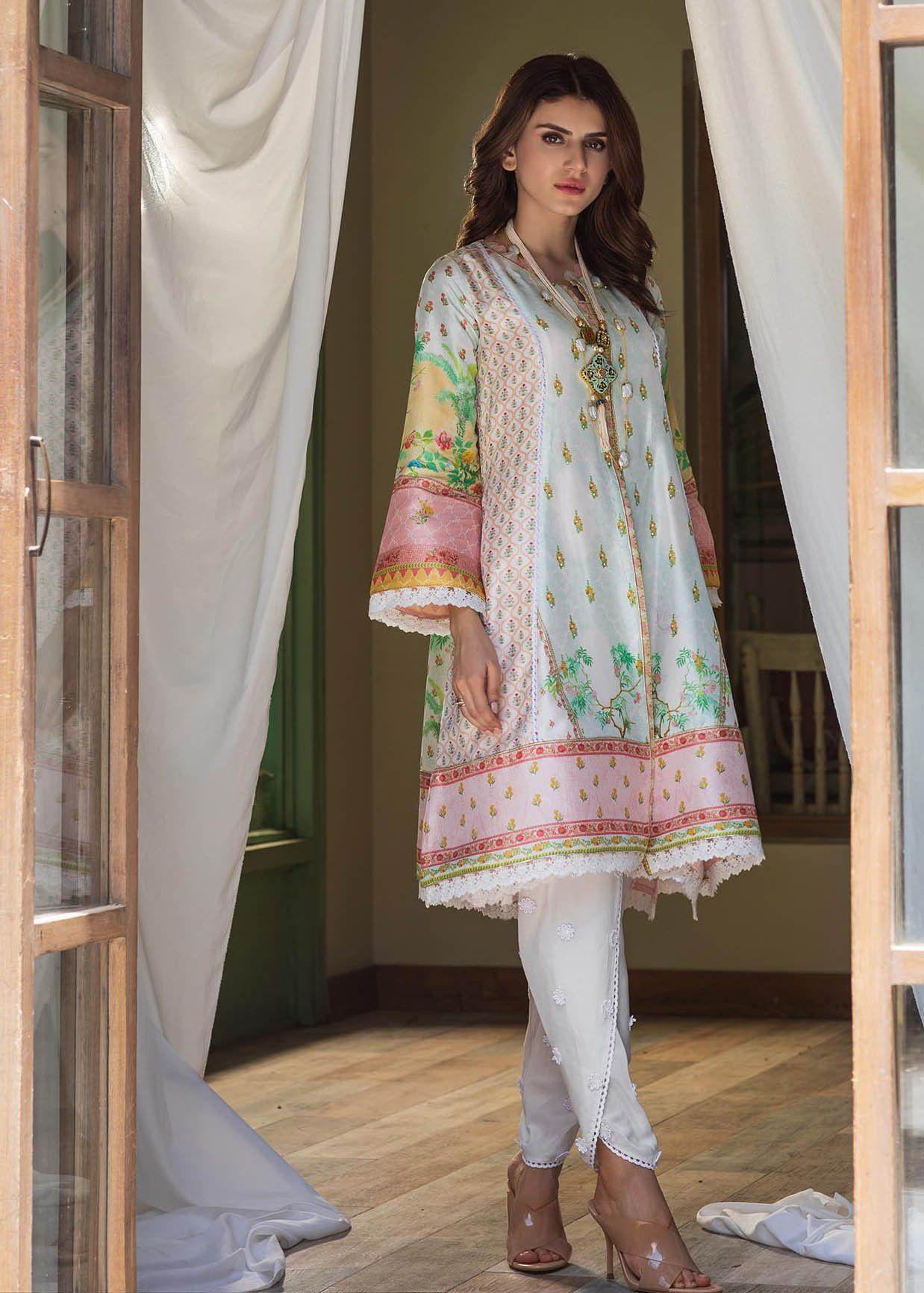 Zarah A Line Front Open Shirt With Crepe Silk Slip Silk Slip 2 Piece Outfits Silk