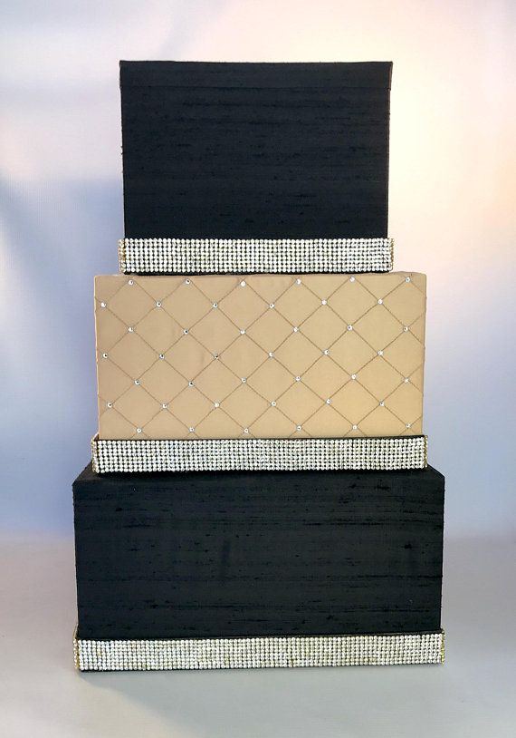 Three Tier Wedding Card Box Customized Black and Gold Secure, Satin ...