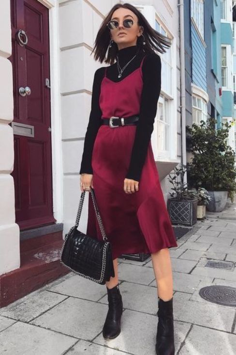 maroon vneck silk slip dress for valentines day Source by thetinyherbivore winter Casual Dresses