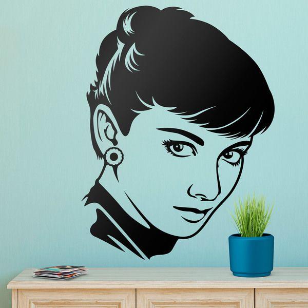 Adesivi Murali Audrey Hepburn.Adesivi Murali Lo Sguardo Di Audrey Hepburn Cinema Decorazione