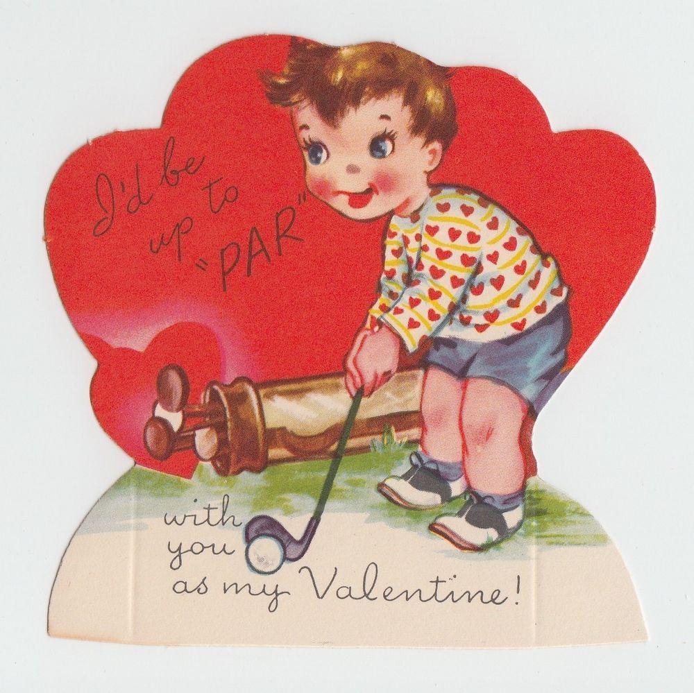 Vintage Greeting Card Valentine S Day Unused Par Golf Golfer A Meri