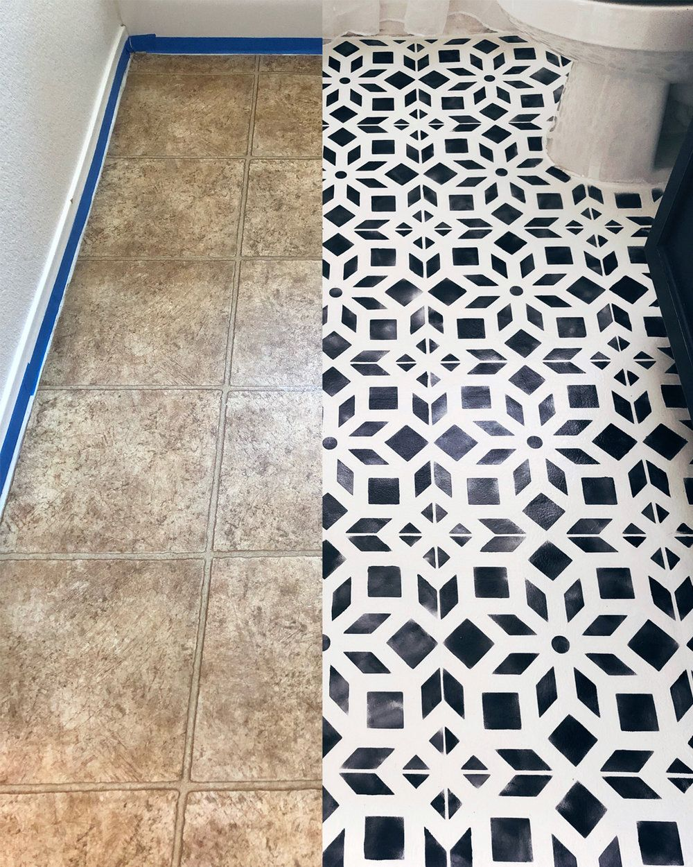 Bathroom Makeover Part 2--Chalk Painted Linoleum Floors