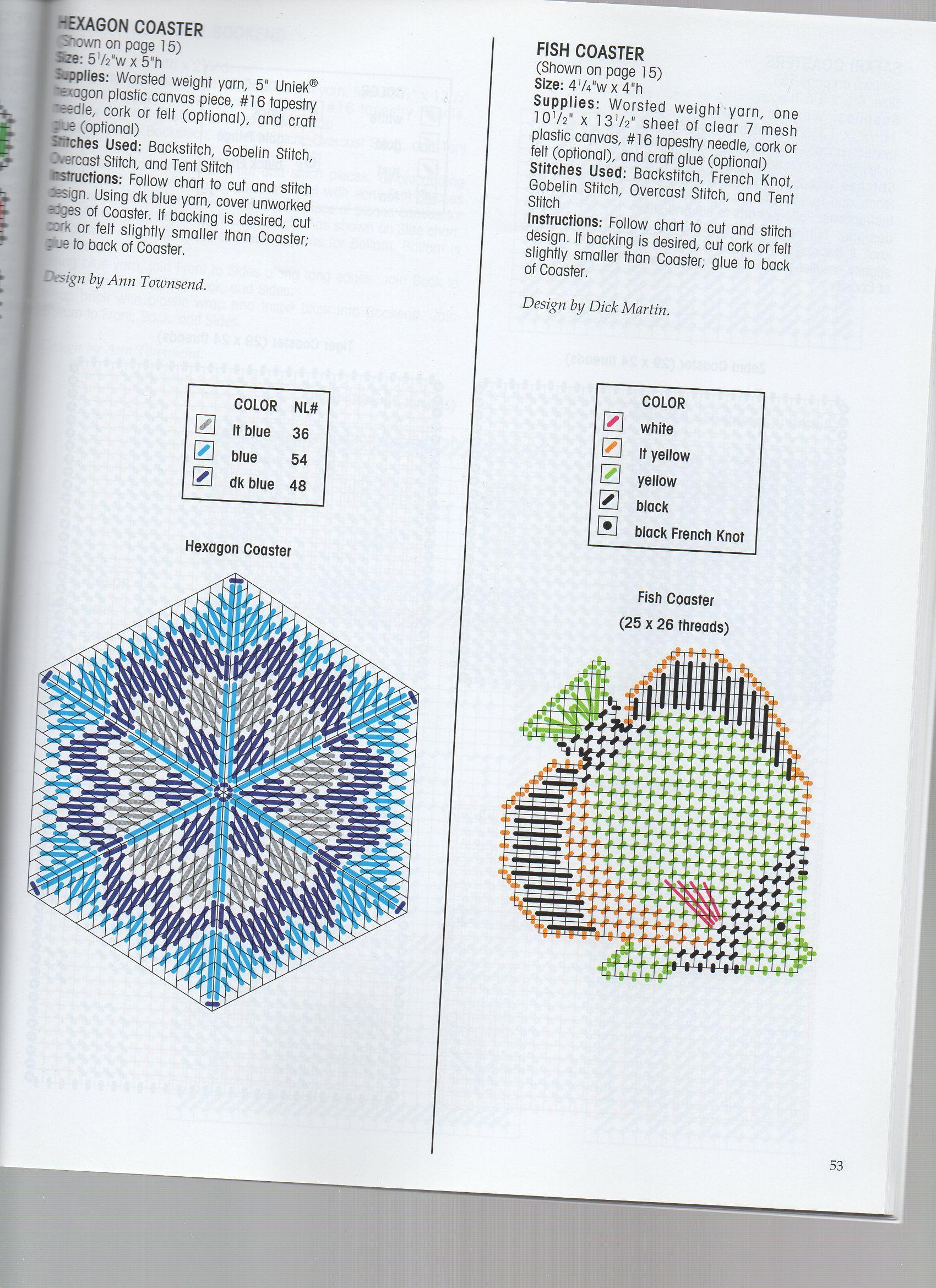 Hexagon Amp Fish Coasters 2 Plastic Canvas Coasters