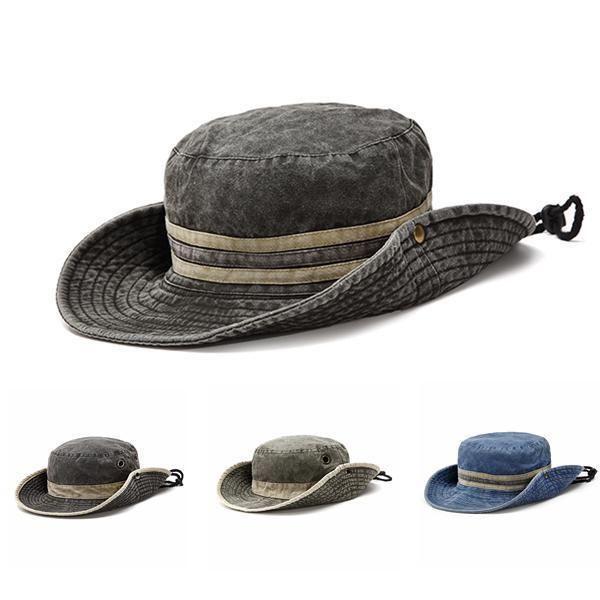 8e1256b2b4f28 Men Denim Stripe Bucket Sun Hats Wide Brim Sunscreen Hunting Fishing  Outdoor Mil