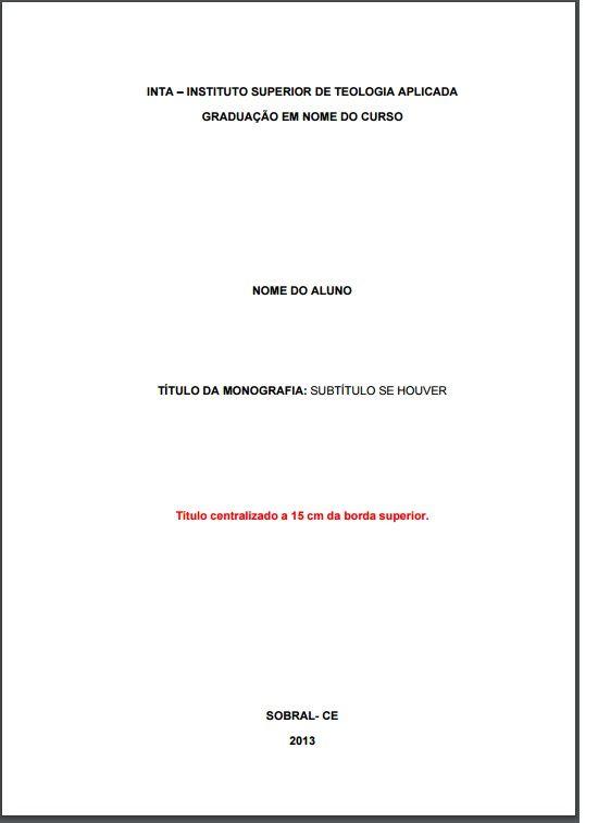 Modelo De Capa De Trabalho De Tcc Monografia Que Segue As