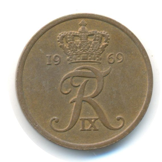 Vintage Coin Denmark 5 Ore 1969 Code Jmc1682 Coins For Sale