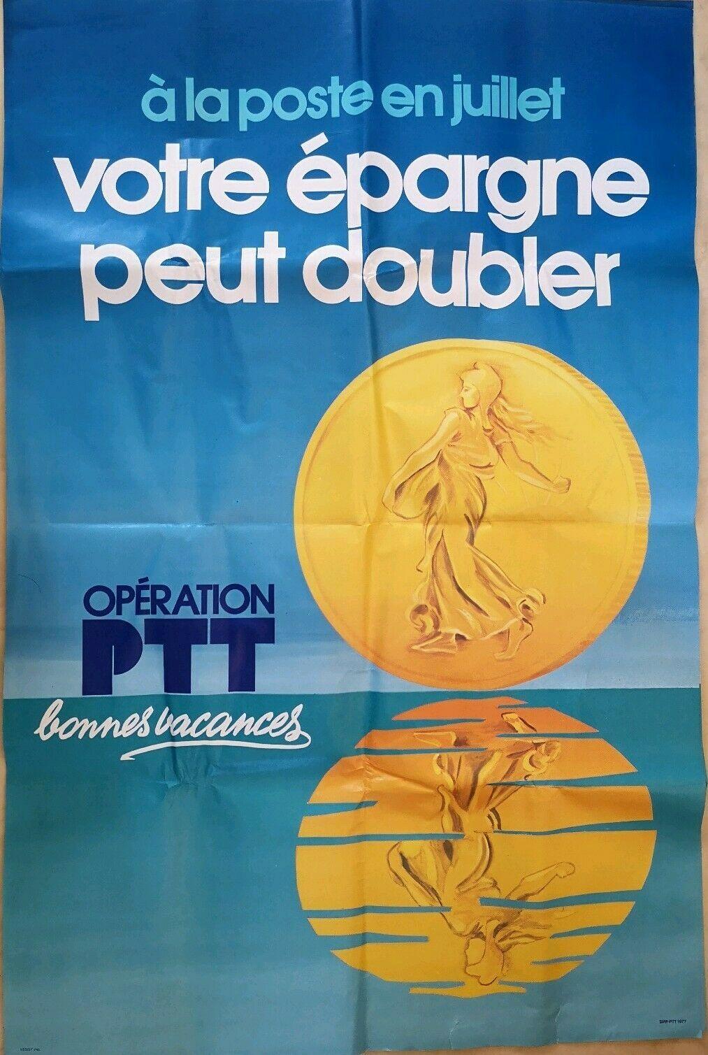 Details Sur Grande Affiche Operation Ptt Epargne Doublee 1977