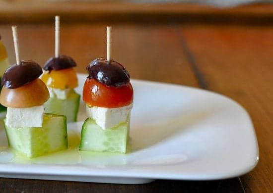 Pin for Later: 50+ Delicious Recipes That Effortlessly Cut Carbs Greek Salad Bites