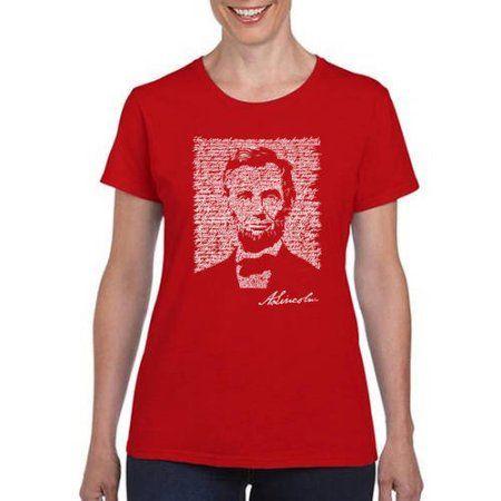 Los Angeles Pop Art Women's abraham Lincoln  T-Shirt, Size: Medium, Red