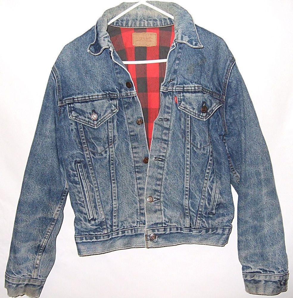 Vintage Levis 70401 Red Plaid Blanket Lined Denim Jacket Size Medium 40 Usa Levis Basicjacket Lined Denim Jacket Denim Coat Jacket Tall Jeans [ 1000 x 984 Pixel ]
