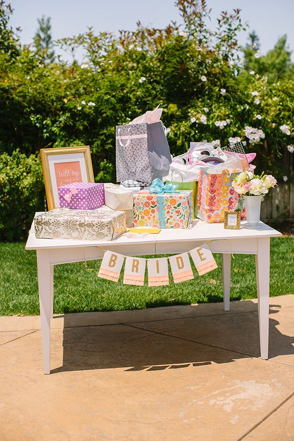 backyard bridal shower in peach and gold