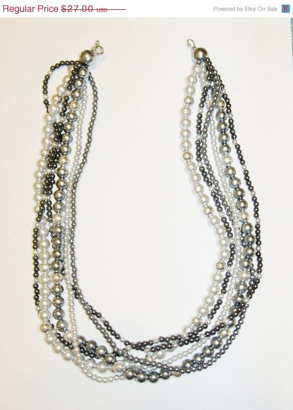 20 Off Vintage Necklace Silver Pewter Black by YoursOccasionally, $21.60