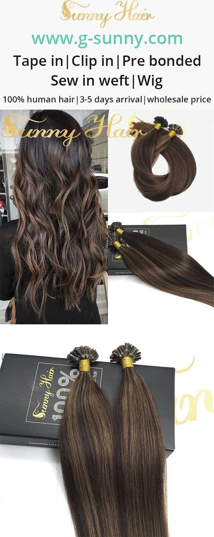 Sunny Hair Brown Highlight U Tip Human Hair Extensions G Sunny